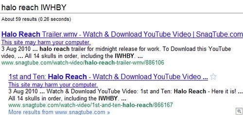 Halo search results