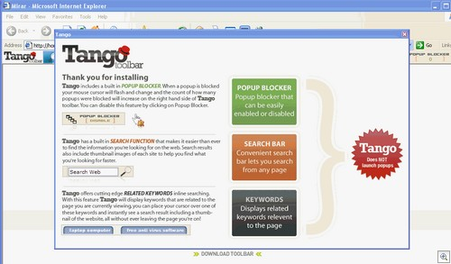 Tango Bar splash page