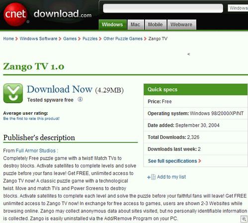 Zango install page